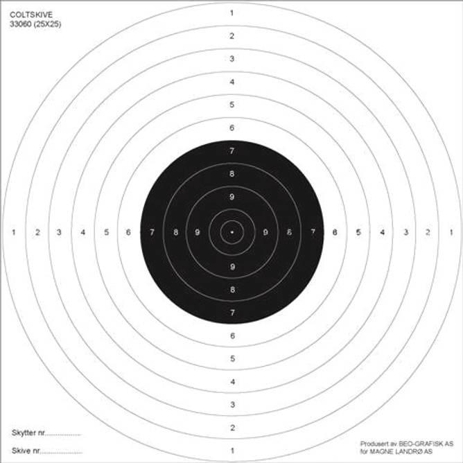 Bilde av Skive Colt for pistol 25x25